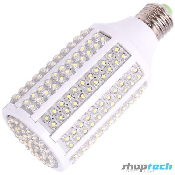 Foco ahorrador de 263 LED luz blanca. Ahorro de hasta un 90% de consumo energético y de larga duración. Socket E27 para roseta común de casa.