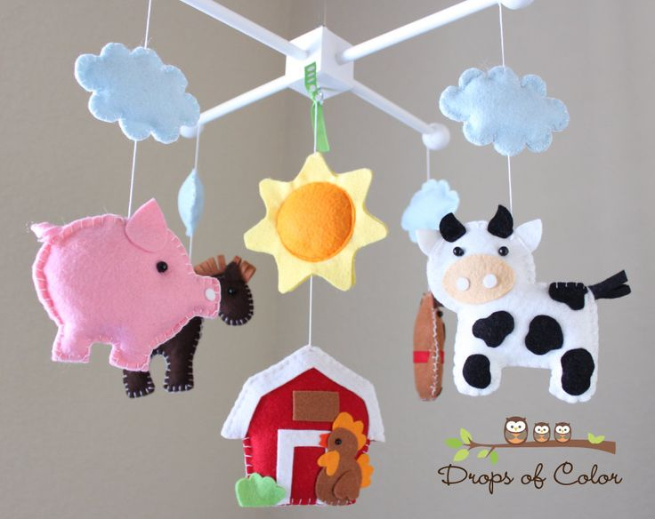 "RESERVED - Baby Crib Mobile - Baby Mobile - Farm Mobile - Nursery Crib Mobile - Cow, Pig, Dog, Rooster, Barn ""Old Macdonal Farm Mobile"". $95.00, via Etsy."