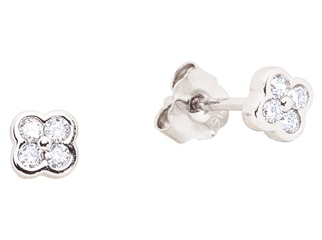 9ct white gold diamond cluster stud earrings with eight brilliant cut diamonds weighing a total of 0.10ct in bezel settings.   #thomasjewellers