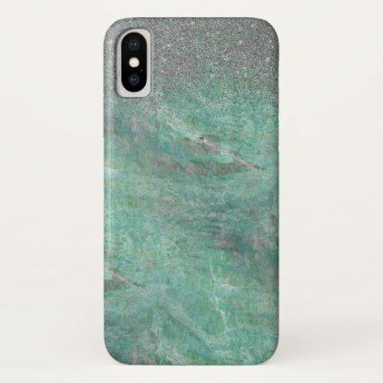 Green Marble Silver Glitter Granite Stone Sparkle iPhone X Case - stones diy cyo gift idea special