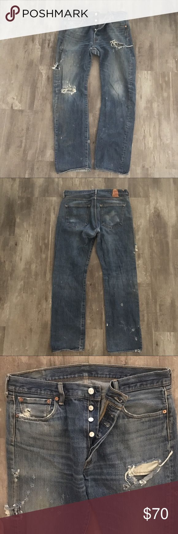 """Levi's 501s👖Button Fly Made c2002-Current/36 X 34 Exactly how you want your vintage Levi's to look, if anyone didn't know better, they'd think they were from the 80's or 90's.  Please know, per Heddel (best resource for Levi's authenticating), """"Any 501 produced after 2002 was most definitely made overseas"""". These bad boys are from Egypt and CANNOT be more than 15 years old. They are hella-mazing!  See Measurements ladies as older Levi's run SMALL. waist measures 17.75"""", 11.75"""" rise, 32""""…"""