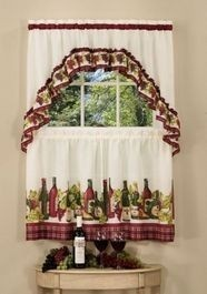 Wine Grapes And Bottles Motif Make The Chardonnay Tier And Swag Set A Perfect Compliment To Your Kitchen Window Decor A Complete Kitchen Curtain Set At A
