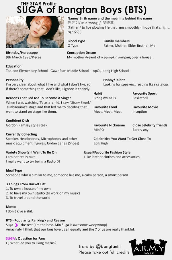 BTS Bangtan Boys | Suga Translation for BTS The Star Profiles -- cr: ARMY Base @bangtanitl