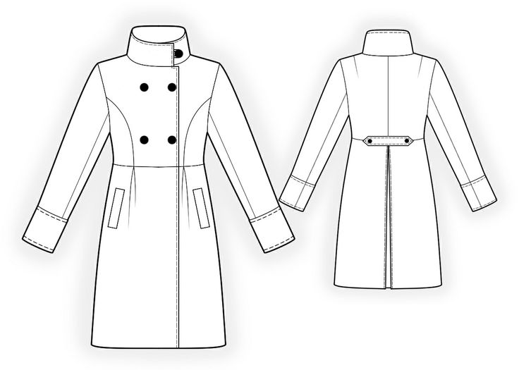 Double-Breasted Coat  - Sewing Pattern #4192 Made-to-measure sewing pattern from Lekala with free online download.