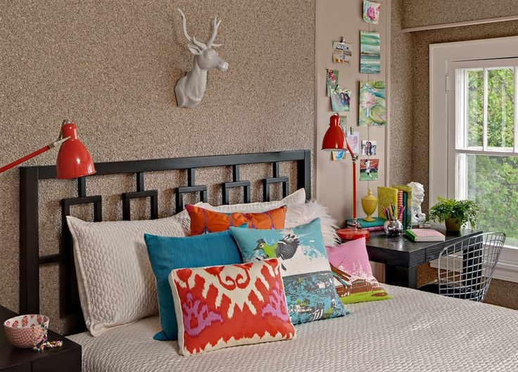 If your master bedroom, like mine, also has to serve as your office, consider the double-duty nightstand. This application is particularly clever, with a mesh desk chair that is almost invisible and the matching desk lamps. Love the use of color. eclectic kids by RLH Studio