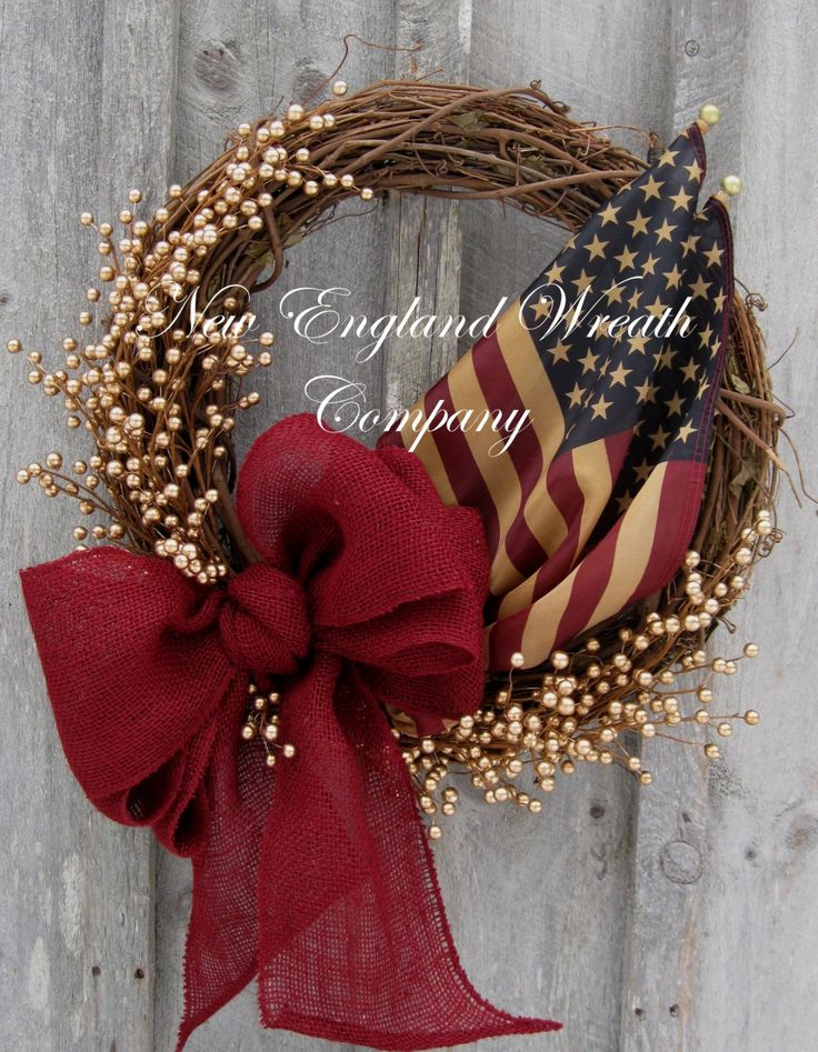 Americana wreath patriotic wreath memorial day fourth for Americana crafts to make