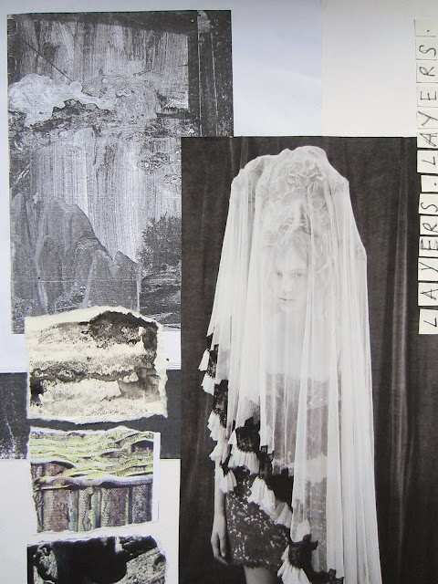 Fashion Moodboard - exploring the theme of neglect through fabric layers and surface texture; the fashion design process