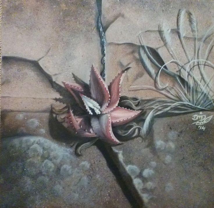 Traveling Aloe {Sold} ~ Block Mounted Oil Painting by Dawn Du Preez #DawnDuPreez