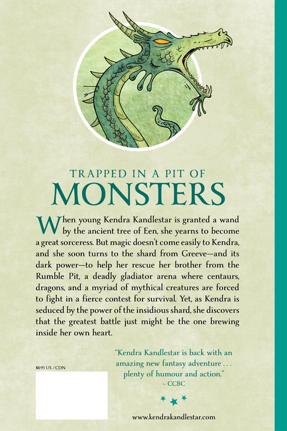 Back cover for Kendra Kandlestar and the Shard for Greeve (Book 3 - The Chronicles of Kendra Kandlestar.)