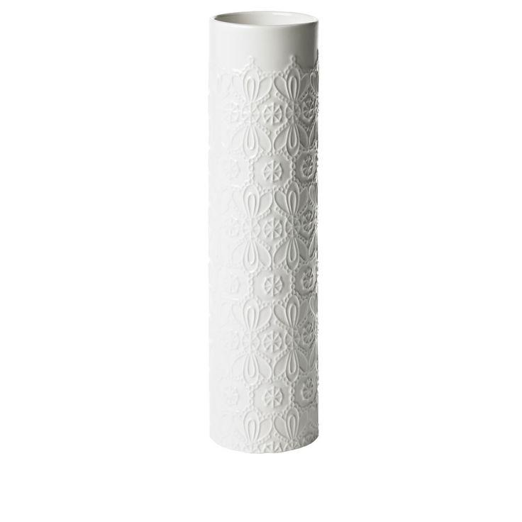 Wilko Lace Effect Cylinder Vase White
