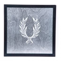 Handmade Wall or Table Laurel Wreath Silver Patinated on Silver Background, Framed 11.8'' (30cm)
