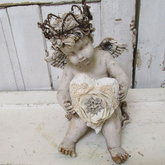 Large sitting cherub statue holding a heart French Nordic inspired winged angel w/ crown shabby vintage chic home decor anita spero design