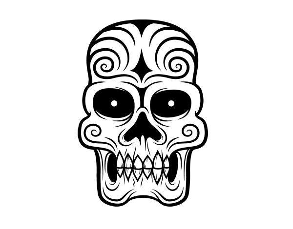 Dibujo de Calavera azteca para colorear