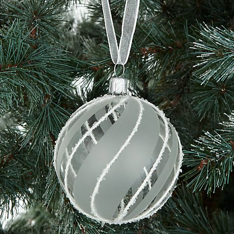 Buy John Lewis Snowdrift Glass Candy Swirl Bauble, Clear/White Online at johnlewis.com
