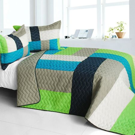 Lime Green Blue Patchwork Teen Boy Bedding Full/Queen Quilt Set Elegant Modern Geometric Bedspread