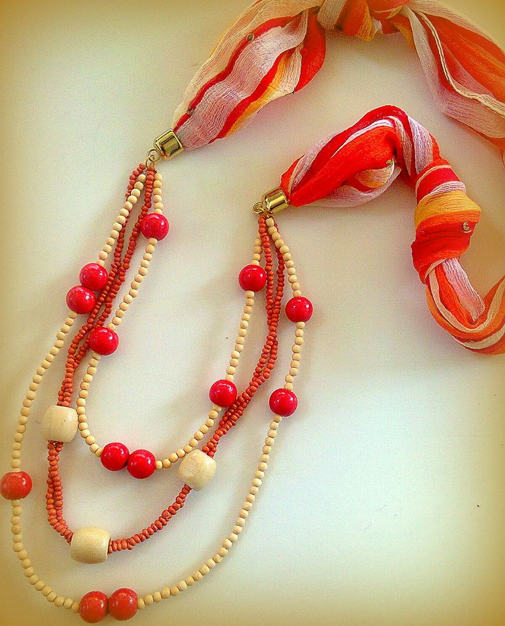 Long necklace with scarf and wooden beads/KINZ jewelry