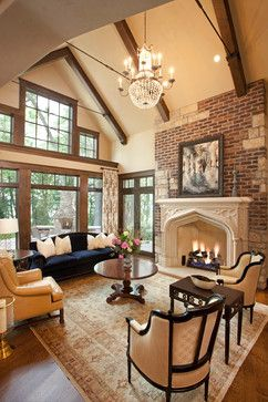 Vaulted living room with Tudor arch fireplace -- Landmark Photography -- Martha O'Hara Interiors -- Eskuche Design