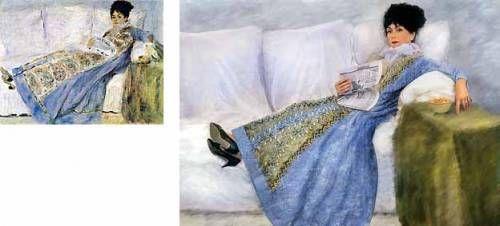 Германова Евдокия   Фото репродукции картины Огюста Ренуара «Портрет мадам Моне».   1874 г. Музей Галуста Гульбенкяна, Лиссабон.