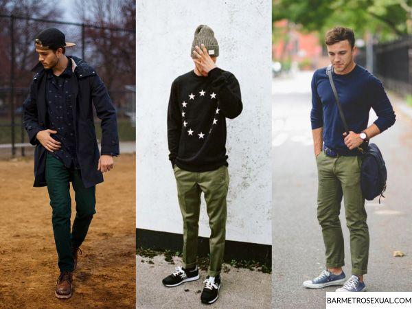 combinar calça verde masculina
