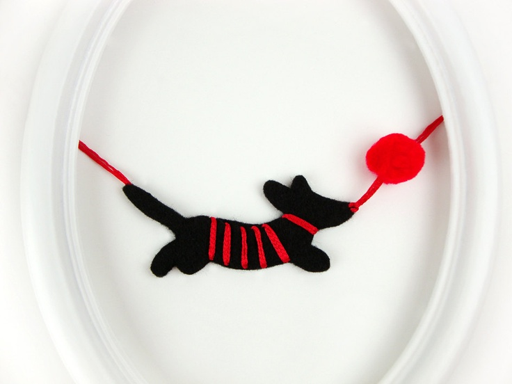 red fall fashion jewelry Amusing felt Dog Hunting Red Ball - felt necklace