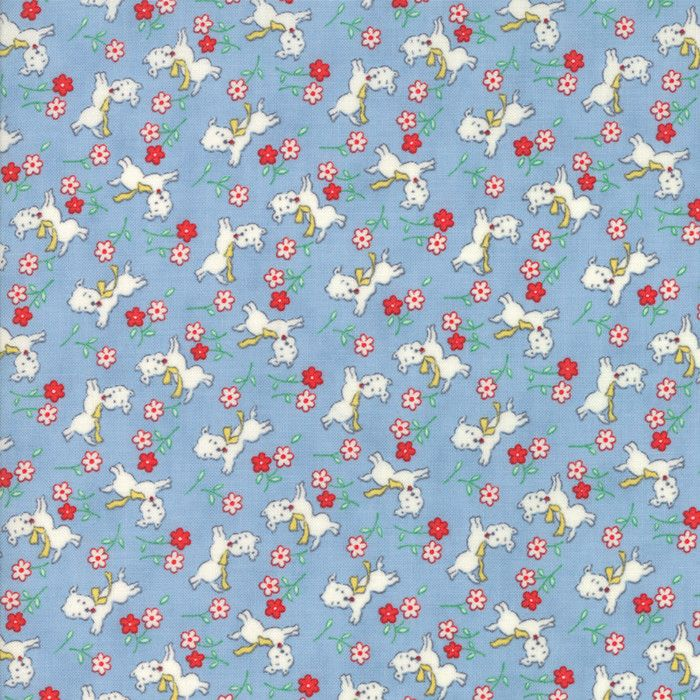 """""""Light Blue""""-Floral Kids Perky Pups Sky 30's Playtime 2017 by Chloe's Closet for Moda"""
