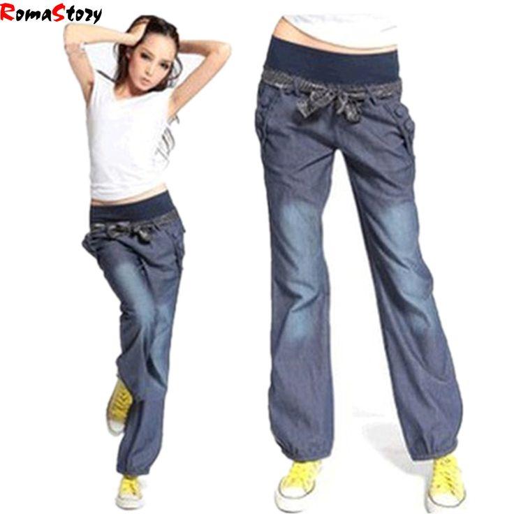 New 2016 Autimn Fashion Loose Women Jeans Stretch Waist Wig leg Denim Pants Lager size Casual bow trousers Women Z964 - http://fashionfromchina.net/?product=new-2016-autimn-fashion-loose-women-jeans-stretch-waist-wig-leg-denim-pants-lager-size-casual-bow-trousers-women-z964