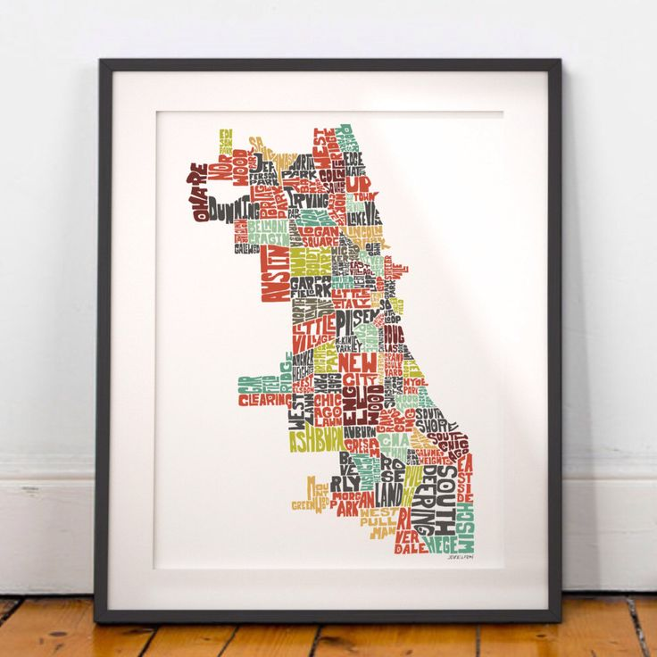 Chicago map art Chicago art print Chicago