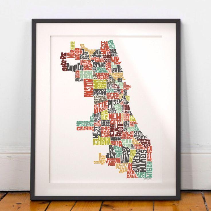 Chicago map art, https://www.etsy.com/listing/117391330/chicago-map-art-chicago-art-print