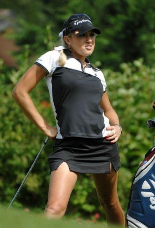 Golf Sensation Natalie Gulbis. That is awful! What is she doing? Stretching?