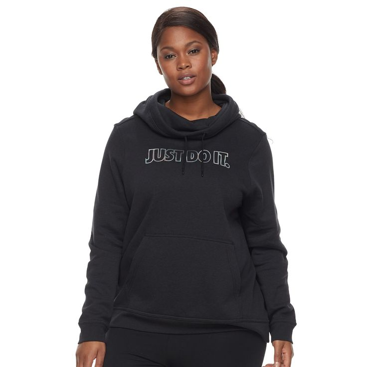 Plus Size Women's Nike Funnel-Neck Hoodie, Size: 3XL, Grey (Charcoal)