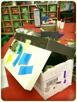 """Was on a course with Alistair from ABC DOES last week, & he talked to us about this classroom. The drawers in the background show how the children are allowed to access the resources - green means free access, red means they have to ask. Great idea! ("""",)"""