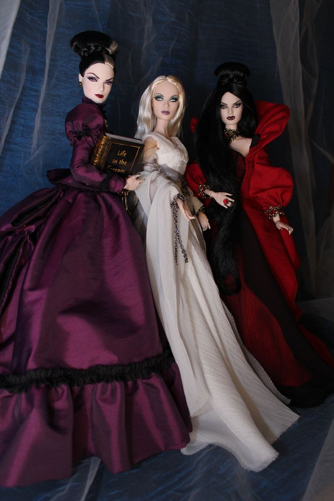 thedollcafe:Haunted Beauty Mistress Of The Manor; Haunted Beauty Ghost; and Haunted Beauty Vampire Barbies (by oksana_frost)