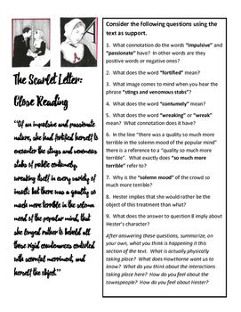 best scarlet letter images the scarlet letter  scarlet letter close reading one pager