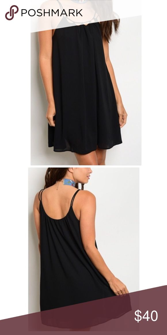 Offers! 💃🏼 Black Spaghetti-Strap Shift Adorable and swingy black chiffon dress! Fully lined. Straps do not adjust. SMALL is 33 inches in length from shoulder to hem. Armpit to armpit is 17 inches across laying flat. Swanky Coconut Dresses