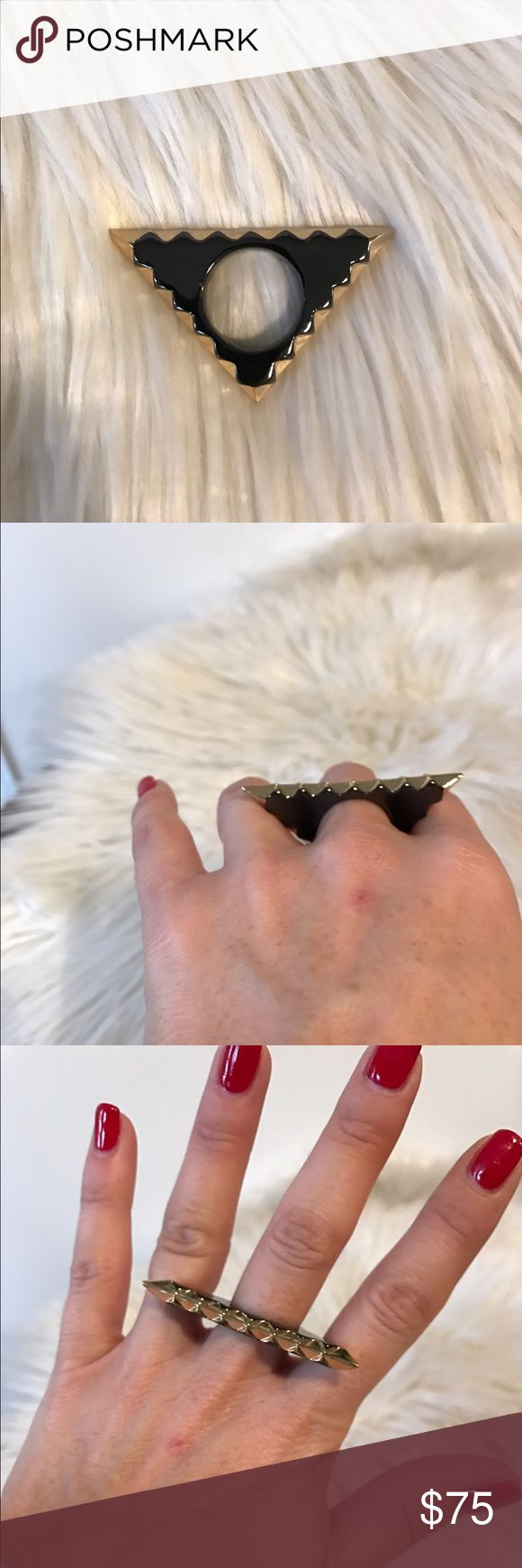 NWOT House of Harlow Aztec Ring NWOT House of Harlow Gold and Black Aztec Triangle Ring with spiked top. House of Harlow 1960 Jewelry Rings