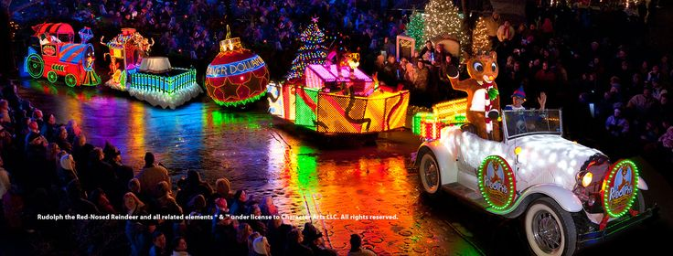Rudolph's Holly Jolly™ Christmas Light Parade in Branson, Miissouri during Silver Dollar City's An Old Time Christmas Festival.