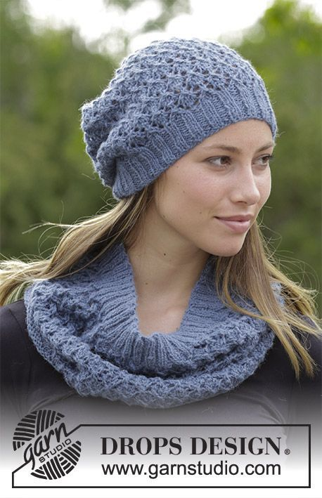 Poetry - The set consists of: Knitted hat and neck warmer with lace pattern. The set is worked in DROPS Puna. Free knitted pattern DROPS 182-3