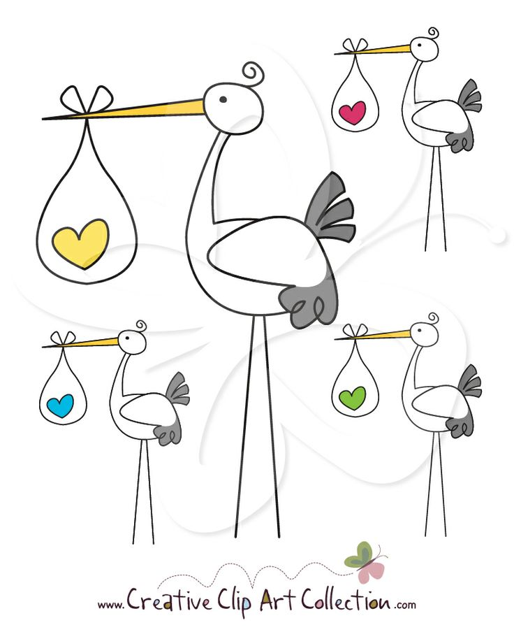 Cute Stork clip art clipart set from Creative Clip Art