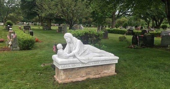 Marble replica of Giotto's Virgin and Child grave monument for private client. Rohn & Associates Design.