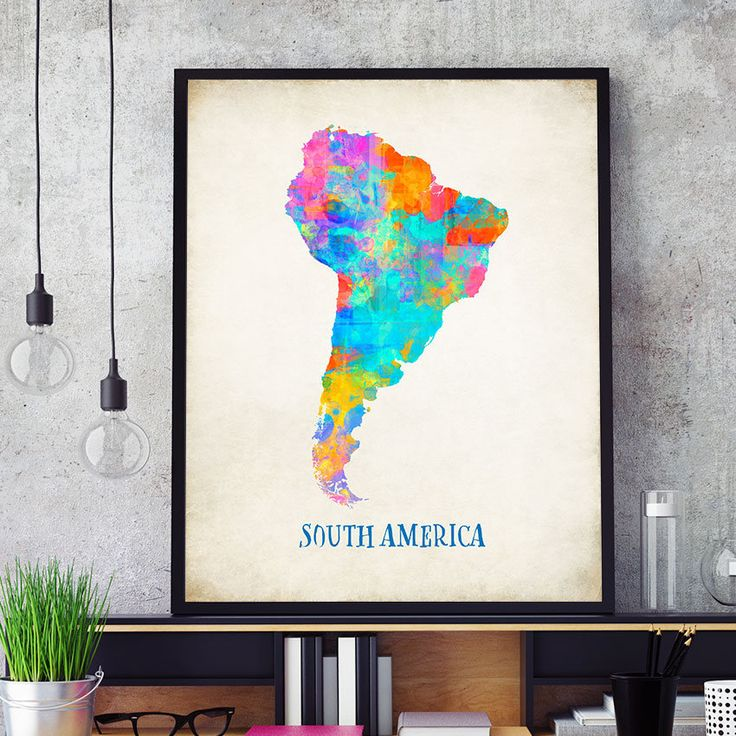 South America Map Wall Art, South America Map Print, Map Of South America Poster, Watercolour South America Continent Map, Home Decor (721) by PointDot on Etsy