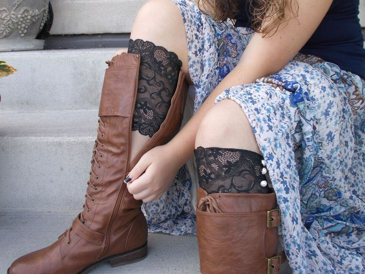 Black Lace Boot Cuffs, Lace Boot Socks Buttons, Stocking Stuffers for Teen Girls, Small Gifts for Women, Lace Leg Warmers, Boot Accessories by foreverandrea on Etsy