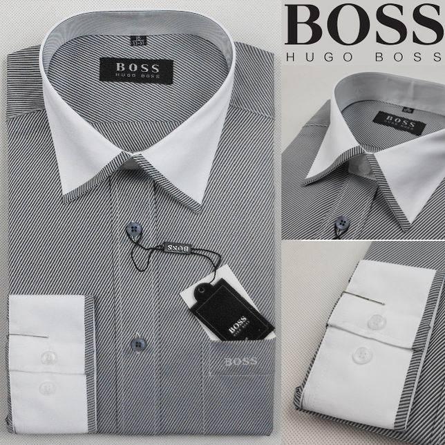 Hugo Boss Mens Gray Long Sleeve Dress Shirt - Designer Outlet UK