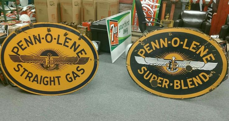 Original Penn-O-Lene Gasoline Porcelain Signs