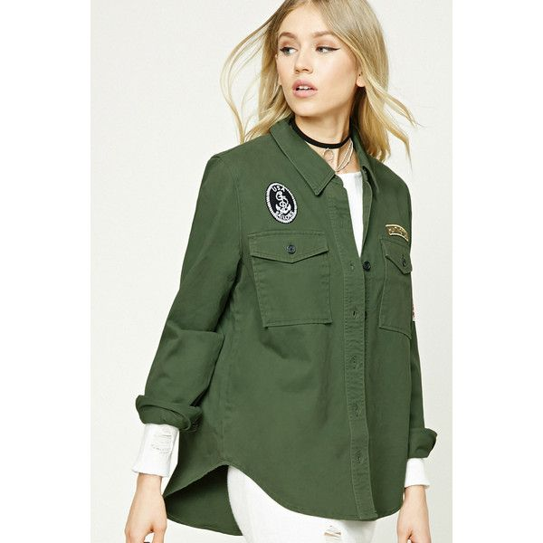 Forever21 Patch Graphic Military Jacket ($25) ❤ liked on Polyvore featuring outerwear, jackets, olive, cotton jacket, olive green military jacket, green military jackets, olive field jacket and olive green jacket