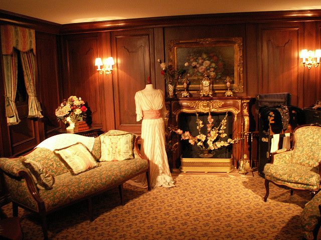 Inside the 1st Class Passenger Room at the Titanic Exhibit  in Orlando Florida. 2007