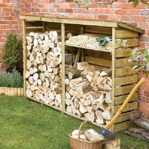 Storage Wood Log Burner Garden Patio Firewood Shed Store Slatted Furniture