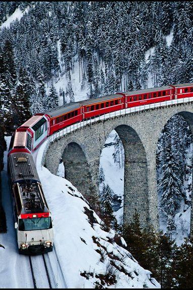 Swiss Railroad in the Alps