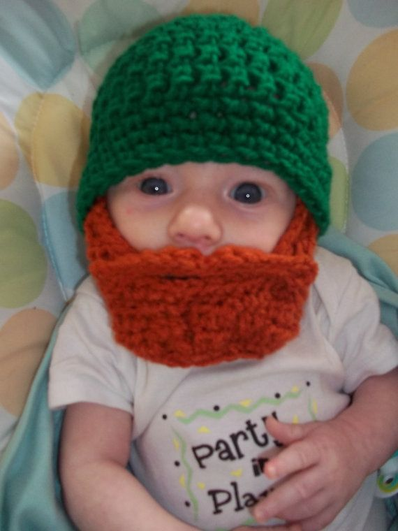 St Patrick's Day Baby Beard Beanie  0 to 3mos by browneyedgirl1489, $25.00..This makes me want to have another baby boy.  Love it!