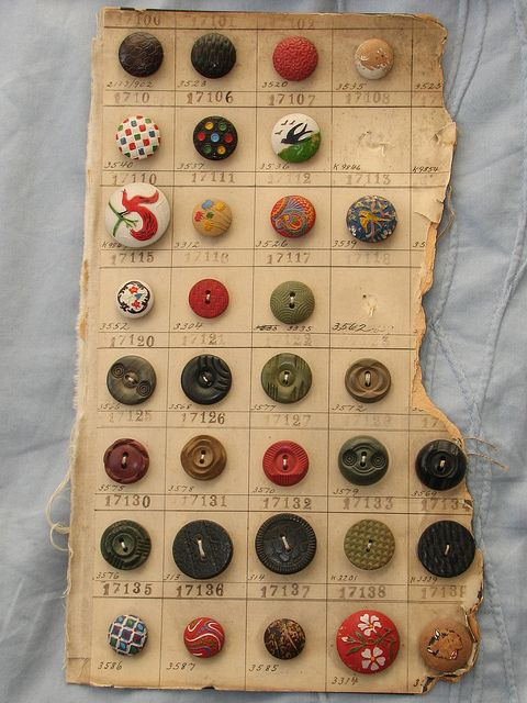 I love to collect vintage Salesman Sample cards, they're like small pieces of art!   I prefer to keep them in tact and not remove any of the buttons.  Even though the card on this sample is in bad shape - look at those buttons - they're so colourful and fun!