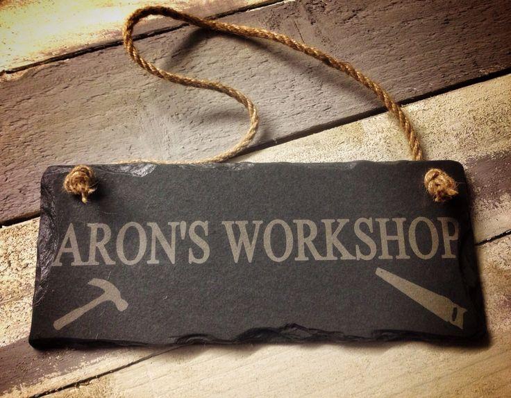 Slate workshop sign - Perfect gift for him @ http://www.plattersslate.com/shop/4585595782/slate-workshop-shed-sign-25x12cm/10097523
